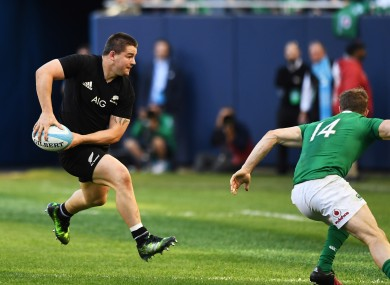 New Zealand's Dane Coles with Andrew Trimble of Ireland in Chicago last year.