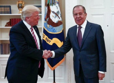Handout from Russian Ministry of Foreign Affairs shows President Donald Trump meeting with Russian Foreign Minister Sergey Lavrov in the Oval Office of the White House.