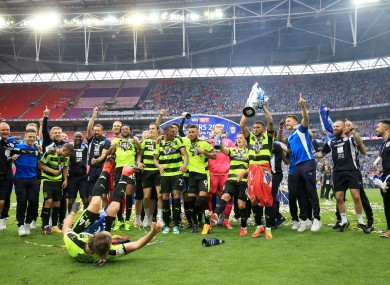 Huddersfield celebrate their victory at Wembley.