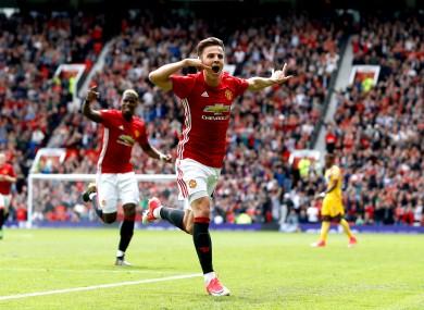 Harrop celebrates his debut goal.
