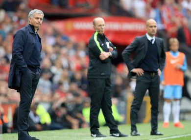 Manchester United manager Jose Mourinho (left) and Manchester City boss Pep Guardiola (right).