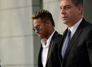 Neymar leaving court earlier this year.