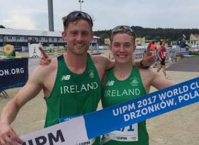Natalya Coyle and Arthur Lanigan O'Keeffe celebrate their win.