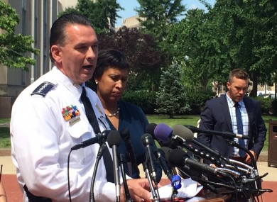 Washington Police Chief Peter Newsham, speaks to reporters  after a doctor who was behaving suspiciously and had made threatening remarks was arrested.