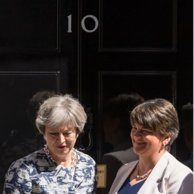 UK Prime Minister Theresa May greets DUP leader Arlene Foster outside 10 Downing Street in London