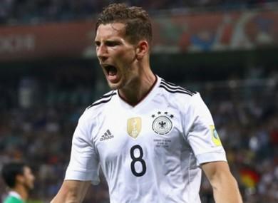 Leon Goretzka celebrates after putting Germany ahead.