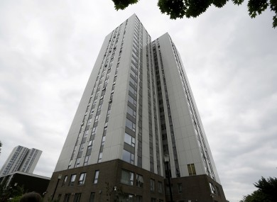 A view of Burnham residential tower on the Chalcots Estate showing the bottom section of the building after cladding was removed.