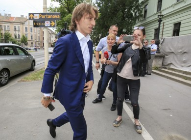 Real Madrid player Luka Modric arrives to the courthouse in Osijek, eastern Croatia.