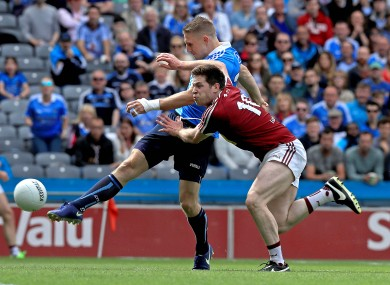 Eoghan O'Gara blasting home a goal for Dublin in the Leinster SFC semi-final.