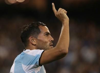 Argentina defender Gabriel Mercado celebrates after scoring the opener against Brazil.