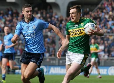 Kerry's Brendan O'Sullivan (right) in action against Dublin's James McCarthy.