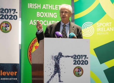 John Treacy speaking at Bernard Dunne's appointment as high performance director for the Irish Amateur Boxing Association.
