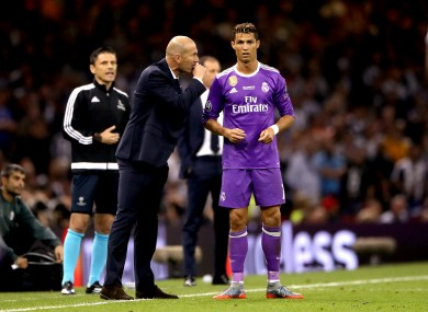 Real Madrid manager Zinedine Zidane (left) gives instructions to Real Madrid's Cristiano Ronaldo (right) during the Champions League final earlier this month.