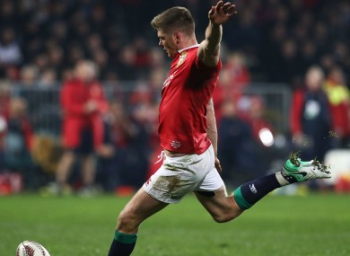 Owen Farrell kicks during the Lions' win over the Crusaders.