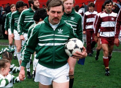Byrne leading Shamrock Rovers out before the 1985 FAI Cup final.
