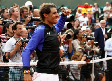 Rafael Nadal after winning the French Open for a 10th time