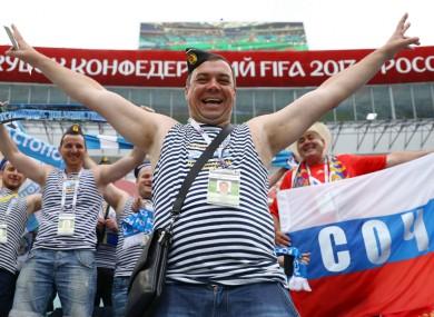 Russian football fans in Sochi.
