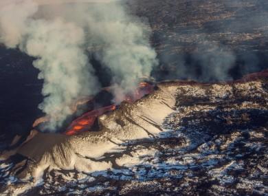 Aerial view of erupting volcano Holuhraun, in Bardarbunga, Iceland.