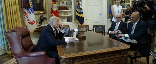 President Donald Trump, accompanied by National Security Adviser H.R. McMaster and National Economic Council Director Gary Cohn, talks with Leo Varadkar over phone in the Oval Office.