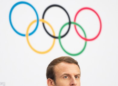 French president Emmanuel Macron at today's press conference where Paris' Olympic bid was approved.