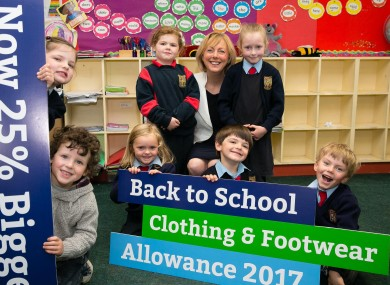 Minister Regina Doherty launching the new awareness campaign with pupils from Culmullen National School in Meath.