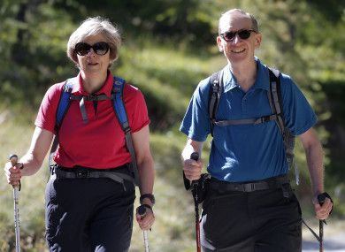 British Prime Minister Theresa May is currently on a walking holiday in the Swiss Alps with her husband Philip. (File photo)