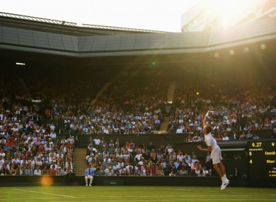 Daniil Medvedev serving during his upset win over Stan Wawrinka at Wimbledon