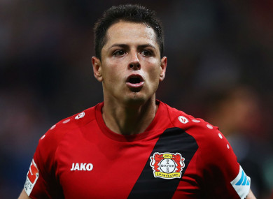 Javier Hernandez celebrates a goal for Bayer Leverkusen