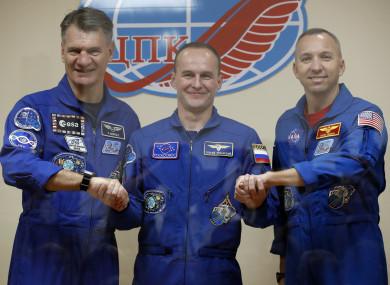 Italian astronaut Paolo Nespoli, Russian cosmonaut Sergey Ryazanskiy and US astronaut Randy Bresnik.
