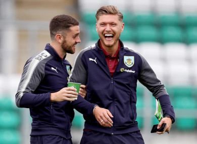 Hendrick shares a joke with Burnley and Ireland team-mate Robbie Brady before a recent friendly in Tallaght.