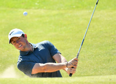 Rory McIlroy practices at Royal Birkdale ahead of the 146th Open Championship