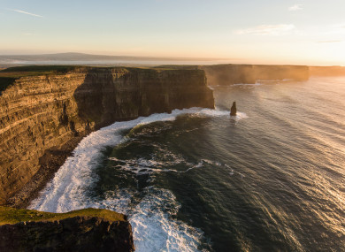 Aerial image of the Cliffs of Moher