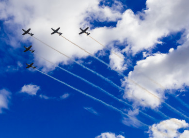 The Irish Air Corps practice their formation over Dublin ahead of the Bray Air Show this weekend.