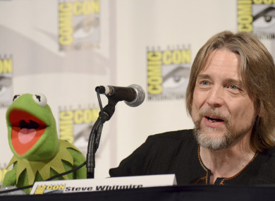 Kermit the Frog, left, and puppeteer Steve Whitmire