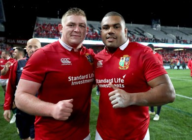 Lions' Tadhg Furlong and Kyle Sinckler after yesterday's game.