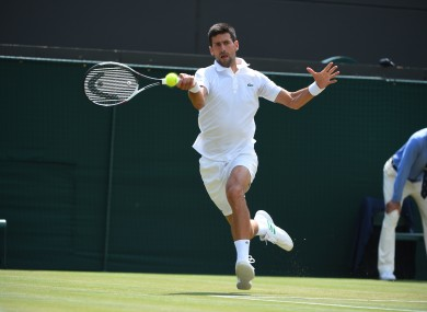 Novak Djokovic (SRB) during his second round match at the 2017 Wimbledon Championships.