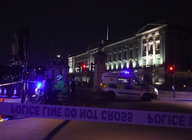 Police cordon outside the palace