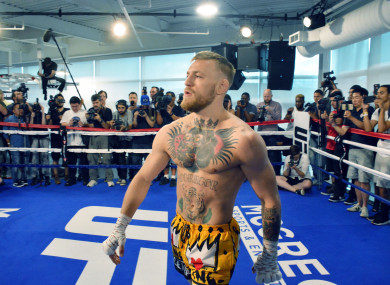 Conor McGregor hosts Las Vegas Media workout ahead of his upcoming fight with Floyd Mayweather.