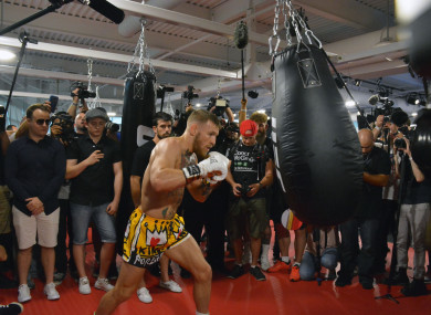 Conor McGregor hosts Las Vegas Media workout ahead of his upcoming fight.