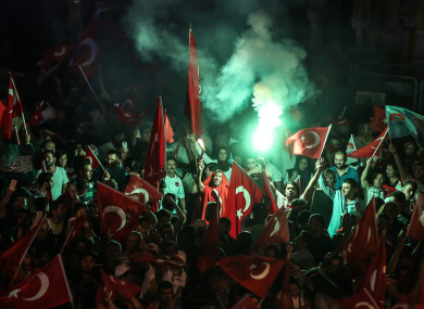 Protests in Izmir at the time of the coup in July 2016.