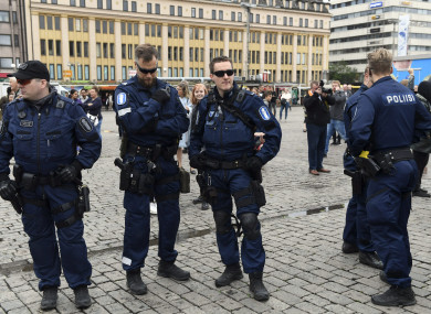 Police attended the scene at the Turku Market Square.