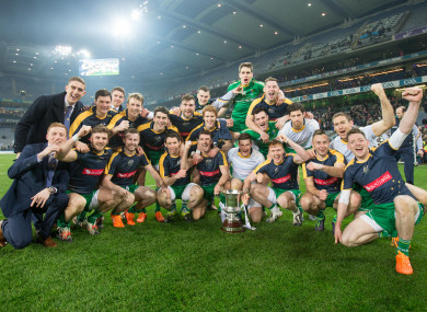 The Ireland players celebrating their 2015 International Rules victory.