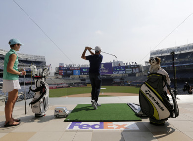 Rory McIlroy hits some golf balls in Yankee Stadium in New York this week.