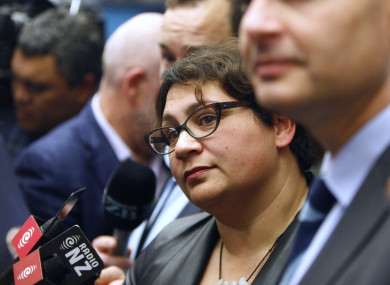 Metiria Turei answers questions from reporters in Wellington today.