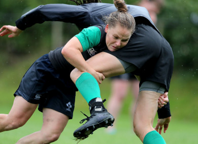 Nicole Cronin gets a tackle in during a training session with the Ireland team.