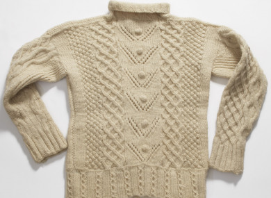 The Aran jumper which will go on display.