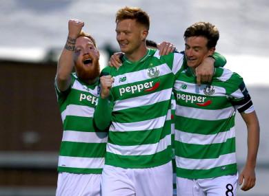 Shamrock Rovers Ronan Finn celebrates scoring a goal with Gary Shaw with Ryan Connolly.