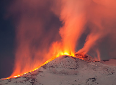 Mount Etna eruption in Sicily
