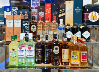 Alcohol on sale at an airport