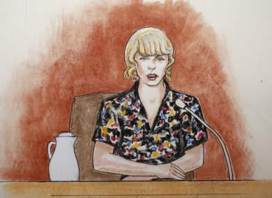 A courtroom sketch of pop singer Taylor Swift.